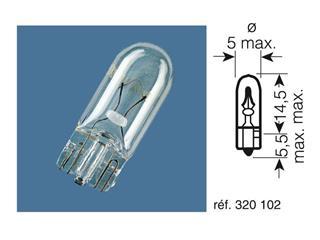 BOITE 10 AMPOULES 12V-2W / TEMOINS CULOT VERRE CULOT W2X4.6D - 320102
