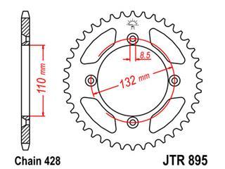 Stahl-Kettenrad JT Sprockets 46 Zähne Typ 895, Kette 428 KTM Husqvarna