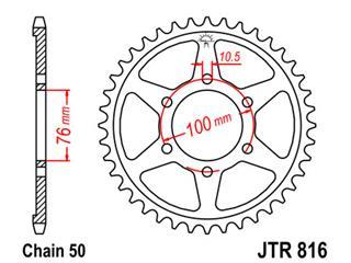 JT SPROCKETS Rear Sprocket 43 Teeth Steel Standard 530 Pitch Type 816