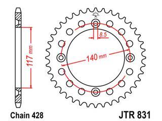 JT SPROCKETS Rear Sprocket 48 Teeth Steel  428 Pitch Type 831