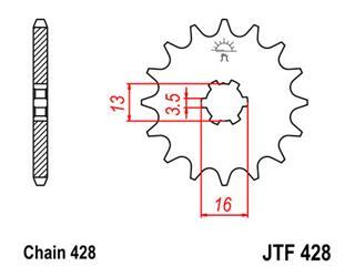 Pignon JT SPROCKETS 13 dents acier pas 428 type 428 - 46042813