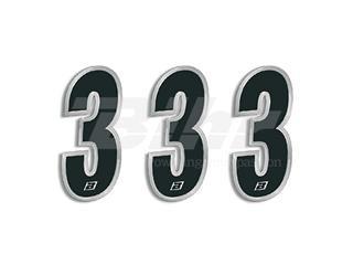 Numeros de carrera negro Blackbird 15X7 Cm - Pack 3 uds 5069/20/3