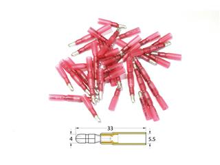 BIHR Female Heat-shrinkable Crimping Bullet Connector Ø0.5mm²/1.5mm² - 50pcs Transparent Red - 891381