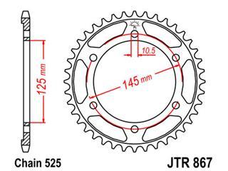 Couronne JT SPROCKETS 43 dents acier pas 525 type 867 - 47086743