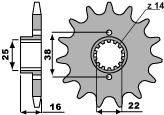 Pignon PBR 14 dents acier standard pas 525 type 2050 Ducati 749
