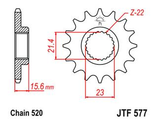 JT SPROCKETS Front Sprocket 14 Teeth Steel 520 Pitch Type 577 Yamaha