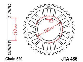 Couronne JT SPROCKETS 45 dents alu ultra-light anti-boue pas 520 type 486 - 470486451