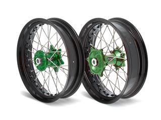 Kit roues complètes avant + arrière ART SM 17x3,50/17x4,50 jante noir/moyeu vert Kawasaki