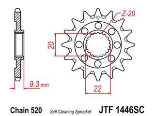Pignon JT SPROCKETS 14 dents acier anti-boue pas 520 type 1446SC Kawasaki KX250F - 460019