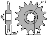 PBR 16-tooth sprocket for 530 Honda VFR750F chain