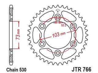 JT SPROCKETS Rear Sprocket 43 Teeth Steel Standard 530 Pitch Type 766