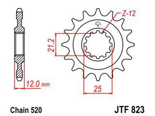 JT SPROCKETS Front Sprocket 12 Teeth Steel 520 Pitch Type 823