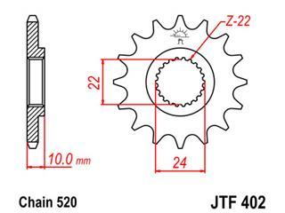 Pignon JT SPROCKETS 16 dents acier pas 520 type 402 - 46040216