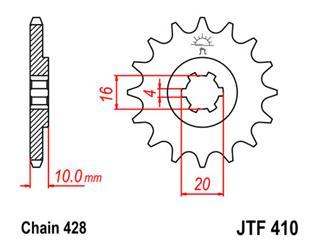 Pignon JT SPROCKETS 15 dents acier pas 428 type 410 - 46041015