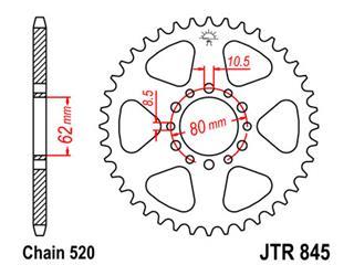 Couronne JT SPROCKETS 45 dents acier standard pas 520 type 845 - 47084545