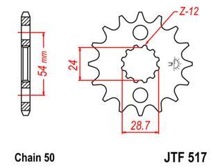 Pignon JT SPROCKETS 17 dents acier pas 530 type 517 - 46051717
