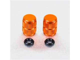 Pair of Pro-Bolt orange aluminium tyre valve caps