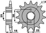 Pignon PBR 14 dents acier standard pas 520 type 2075 Ducati - 46001341