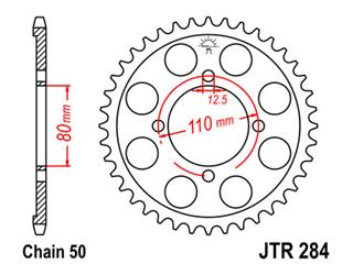 JT SPROCKETS Rear Sprocket 39 Teeth Steel Standard 530 Pitch Type 284