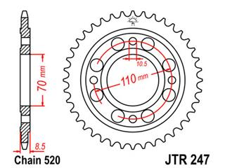 JT SPROCKETS Rear Sprocket 36 Teeth Steel Standard 520 Pitch Type 247