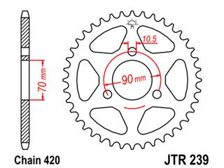 JT SPROCKETS Rear Sprocket 45 Teeth Steel Standard 420 Pitch Type 239