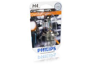 BOITE DE 10 AMPOULES TYPE H4 PHILIPS CITY VISION MOTO - 320065