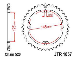 Couronne JT SPROCKETS 40 dents acier pas 520 type 1857 Yamaha YFM350X Warrior - 47185740
