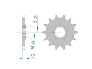 Pignon AFAM 13 dents acier standard pas 520 type 73301 Beta RR 250 2T Enduro - 46000520