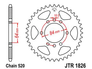 JT SPROCKETS Rear Sprocket 37 Teeth Steel Standard 520 Pitch Type 1826