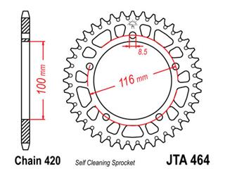 JT SPROCKETS Rear Sprocket 44 Teeth Aluminum Ultra-Light Self-Cleaning 420 Pitch Type 464