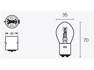 Ampoule V PARTS S2 12V/40/45W culot BAY15d 10pcs - 320092