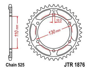 JT SPROCKETS Rear Sprocket 43 Teeth Steel Standard 525 Pitch Type 1876