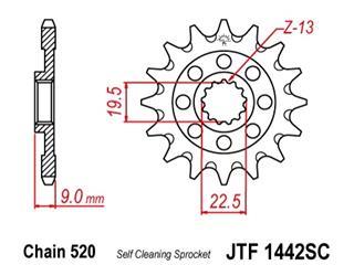 Pignon JT SPROCKETS 13 dents acier anti-boue pas 520 type 1442SC Suzuki RM-Z250