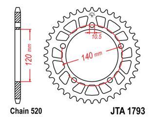 Bakdrev JT Aluminium Ultra-light 45 Kuggar - typ 1793 - 520 Pitch  JTA1793.45