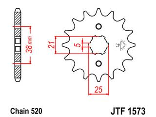 JT SPROCKETS Front Sprocket 13 Teeth Steel 520 Pitch Type 1573