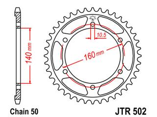 Couronne JT SPROCKETS 44 dents acier standard pas 530 type 502 - 652fcfc7-c30e-4530-9680-fcb7fa6cd18c