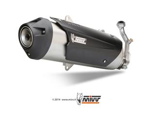 MIVV Urban Catalyzed Stainless Steel Full Exhaust System/Brushed Stainless Steel Muffler/Black ABS End Cap Piaggio MP3 125