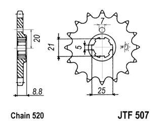 Pignon JT SPROCKETS 15 dents acier pas 520 type 507 - 46050715