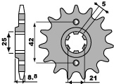 Pignon PBR 14 dents acier standard pas 520 type 507 Kawasaki KX250 - 46450714