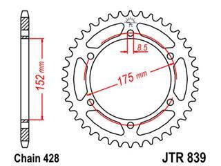 Couronne JT SPROCKETS 53 dents acier pas 428 type 839 - 47083957
