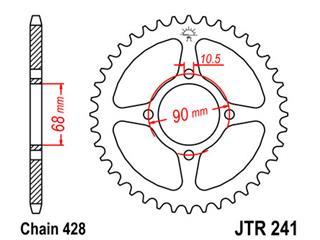 JT SPROCKETS Rear Sprocket 53 Teeth Steel 428 Pitch Type 241