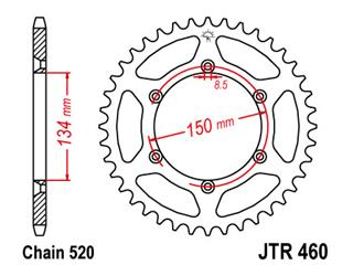 Bakdrev JT 52-Kuggar Stål Standard 520-Pitch typ 460 JTR460.52