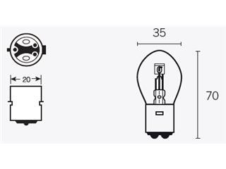 Ampoule V PARTS B35 6V/35/35W culot BA20d 10pcs - 320081