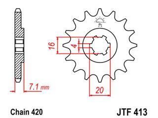Pignon JT SPROCKETS 13 dents acier pas 420 type 413 - 46041313