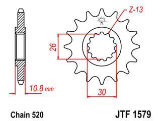 JT SPROCKETS Front Sprocket 16 Teeth Steel Standard 520 Pitch Type 1579