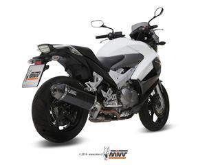 Silencieux MIVV Speed Edge inox brossé noir/casquette carbone Honda VFR800 Crossrunner
