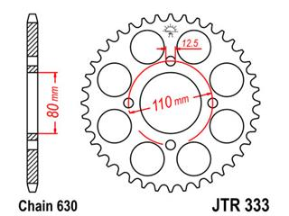 JT SPROCKETS Rear Sprocket 38 Teeth Steel Standard 630 Pitch Type 333