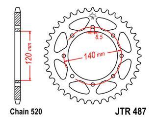 JT SPROCKETS Rear Sprocket 44 Teeth Steel 520 Pitch Type 487