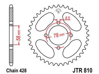JT SPROCKETS Rear Sprocket 47 Teeth Steel Standard 428 Pitch Type 810