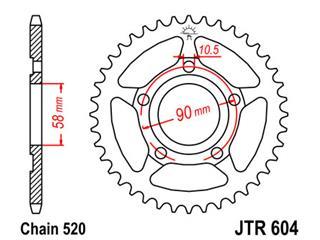 Couronne JT SPROCKETS 40 dents acier pas 520 type 604 - 47060440
